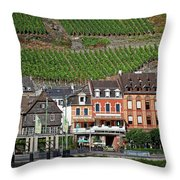 Old Buildings And Vineyards Throw Pillow