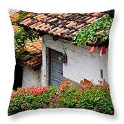 Old Buildings In Puerto Vallarta Mexico Throw Pillow
