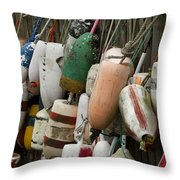 Old Buoys Hanging Out Throw Pillow