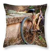 Old Bycicle Throw Pillow
