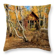 Old Cabin In The Aspens Throw Pillow