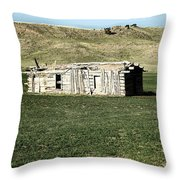 Old Cabin On The Plains Throw Pillow