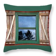 Old Cabin Window Throw Pillow