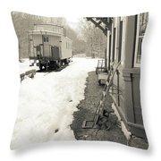 Old Caboose At Period Train Depot Winter Throw Pillow