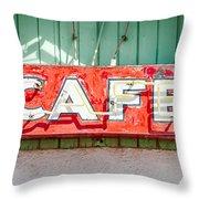 Old Cafe Sign Throw Pillow