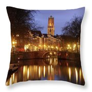 Old Canal And Dom Tower In Utrecht In The Evening 16 Throw Pillow