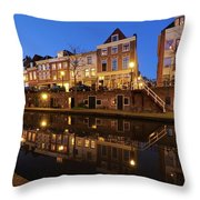 Old Canal In Utrecht At Dusk 211 Throw Pillow