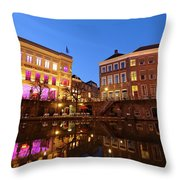 Old Canal In Utrecht In The Evening 4 Throw Pillow