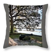 Old Cannon By The Sea Throw Pillow