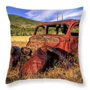 Old Car At Susanville Ranch Throw Pillow