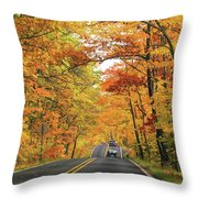 Old Car Tour To Copper Harbor Throw Pillow
