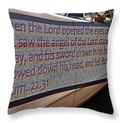 Old Car With Text Throw Pillow