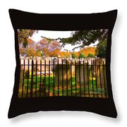 Old Cemetary In Newport Rhode Island Throw Pillow