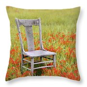 Old Chair In Wildflowers Throw Pillow