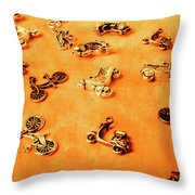 Old Charm Scooters Throw Pillow