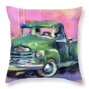 Old Chevy Chevrolet Pickup Truck On A Street Throw Pillow