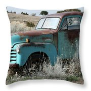 Old Chevy Farm Truck In The Field Throw Pillow