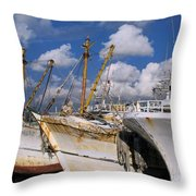 Old Chinese Fishing Boats Throw Pillow