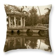 Old Chinese Garden Throw Pillow
