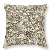 Old Chinese Map Throw Pillow