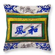 Old Chinese Wall Tile Throw Pillow