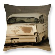 Old Cadillac In Sepia Tones Throw Pillow