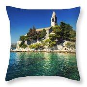 Old Church On Croatian Island Throw Pillow