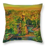 Old Church On The River Throw Pillow