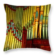 Old Church Organ Throw Pillow