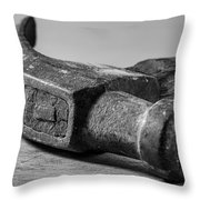 Old Claw Hammer With Wooden Handle Bw Throw Pillow