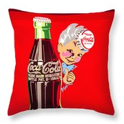 Old Coca-cola Red And White Coke Machine Vintage Vendo Model 44  Throw Pillow