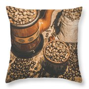 Old Coffee Brew House Beans Throw Pillow