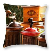 Old Coffee Grinders Throw Pillow