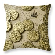 Old Coins On Old Map Throw Pillow