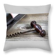 Old Corkscrew And Wine Bottle In Background On Rustic Wood Throw Pillow