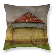 Old Corn Crib In The Cloudy Sky Throw Pillow