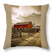 Old Country Farm Throw Pillow