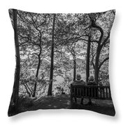 Old Couple On The Bench By The Lake Throw Pillow