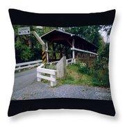Old Covered Bridge In Pennsylvania  Throw Pillow