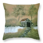 Old Covered Bridge Throw Pillow