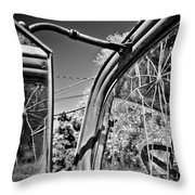 Old Cracked Glass Spider Web Throw Pillow