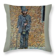 Old-crafts-the-lamplighter-italy-1800 Throw Pillow