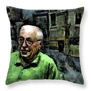 Old Craftsman Portrait Throw Pillow