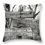 Old Directional Signs At Fort Cooper  Throw Pillow