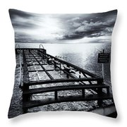 Old Dock Bw Throw Pillow