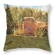 Old Dodge Truck In Garden Throw Pillow