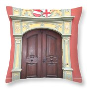 Old Door And Emblem Throw Pillow