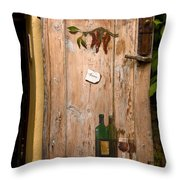 Old Door And Wine Throw Pillow