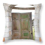 Old Door In A Brick Wall Throw Pillow
