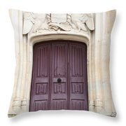 Old Door With Swan Relief Throw Pillow